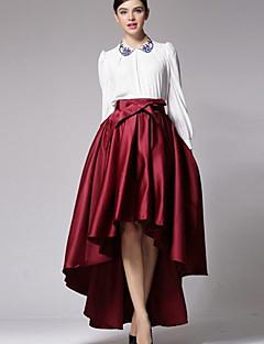 Kvinders Hverdag Asymmetrisk Nederdele Uelastisk Spandex/Polyester