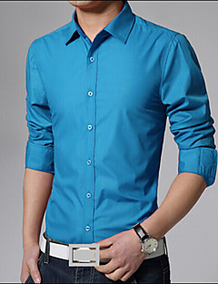 Men's Long Sleeve Shirt , Cotton/Polyester Work/Plus Sizes Pure