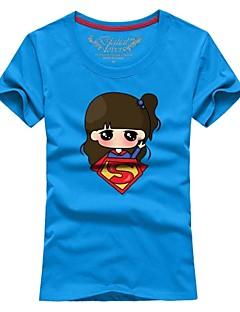 여성의 프린트 짧은 소매 티셔츠,심플 캐쥬얼/데일리 블루 / 핑크 / 레드 / 화이트 / 블랙 / 그레이 / 그린 / 옐로 / 퍼플 / 멀티 색상 면 사계절 얇음
