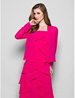 여성 숄 코트 / 재킷 긴 소매 쉬폰 퓨샤 웨딩 / 파티/이브닝 넓은 칼라 39cm 드레이프 오픈 프론트