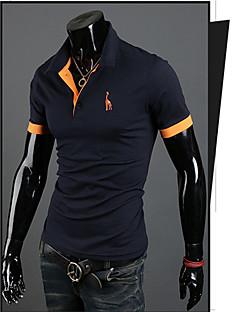 pelicans,Men's Vintage/Casual/Party/Work  Lapel Short Sleeve T-Shirts (Cotton/Rayon)
