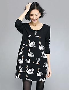 T-Shirt Da donna Rotonda Manica lunga Elastico/Misto cotone