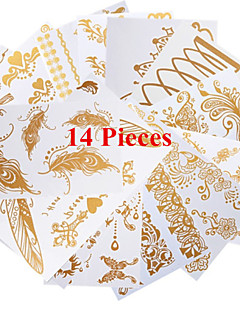 14PCS Mixed Patterns Necklace Bracelet Temporary Tattoos Sticker Gold Tattoos Flash Tattoos Women Tattoos