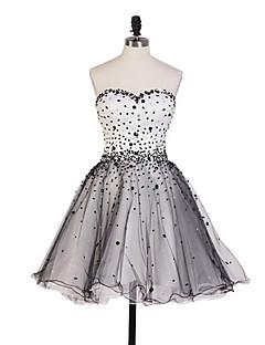동창회 드레스 볼 가운 아가 짧은 / 미니 얇은 명주 그물 드레스