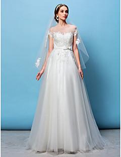 Lanting Bride® A-라인 / 공주 퍼티트 / 플러스 사이즈 웨딩 드레스 스윕 / 브러쉬 트레인 보트넥 튤 와