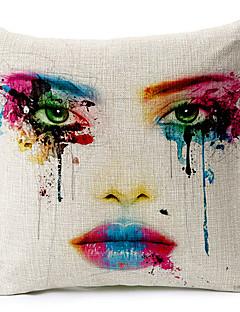 estilo moderno rosto pintado modelado algodão / linho cobertura decorativa travesseiro