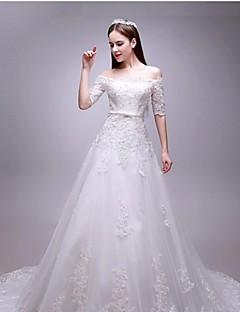 웨딩 드레스 - 화이트 A 라인 성당 트레인 오프 더 숄더 튤