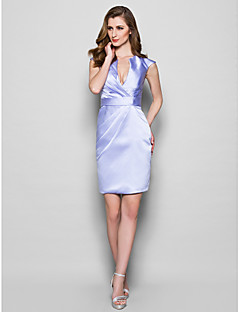 Sheath/Column Plus Sizes / Petite Mother of the Bride Dress - Lavender Knee-length Sleeveless Satin