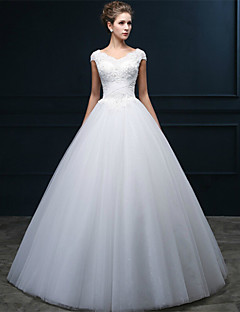 A-line Wedding Dress-Floor-length V-neck Tulle