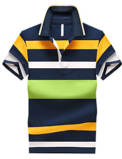 Men's Short Sleeve Polo , Cotton Casual/Work/Formal/Sport/Plus Sizes Striped
