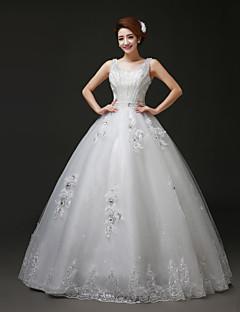 Vestido de Boda - Blanco Corte Evasé Hasta el Suelo - Escote en U Tul