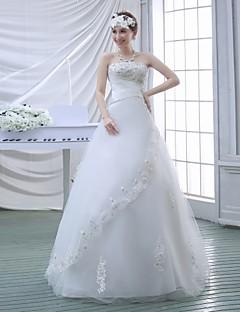 Vestido de Noiva - Branco Baile Sem Alças Comprido Renda