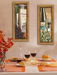 Fantasie / Essen/Getränke Gerahmtes Leinenbild / Gerahmtes Set Wall Art,PVC Goldfarben Kein Passpartout Mit Feld Wall Art