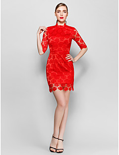 Homecoming Cocktail Party Dress - Ruby Sheath/Column High Neck Short/Mini Lace