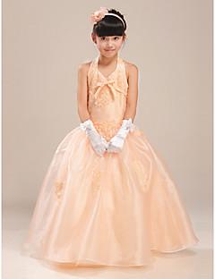 A-line Floor-length Flower Girl Dress - Satin/Tulle Sleeveless