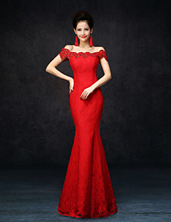 Formal Evening Dress - Sexy Trumpet / Mermaid Off-the-shoulder Floor-length Lace with Lace