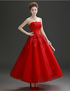Formal Evening Dress A-line Strapless Ankle-length Tulle with Crystal Detailing / Lace