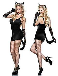 Cute Catwoman Black with Tail Female Sexy Uniforms
