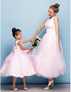 TS Couture Formal Evening Dress - Blushing Pink Plus Sizes / Petite Ball Gown V-neck Tea-length Tulle