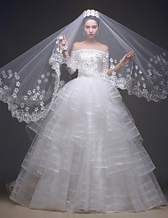 Princess Wedding Dress - Ivory Sweep/Brush Train Off-the-shoulder Lace/Tulle/Charmeuse