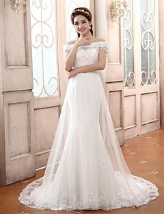 Vestido de Boda - Blanco Corte Sirena Tribunal - Sobre el Hombro Encaje/Satén/Tul