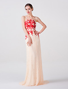 Formal Evening Dress - Pearl Pink Trumpet/Mermaid Strapless Court Train Lace/Organza/Tulle/Charmeuse