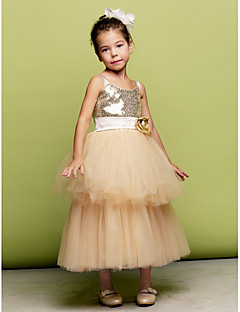 A-line Tea-length Flower Girl Dress - Tulle/Sequined Sleeveless
