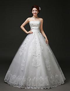 plesové šaty podlahy Délka svatební šaty -strapless tyl