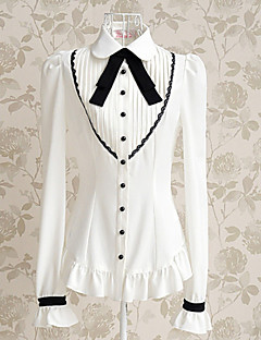 Long Sleeve White Polyester Preppy Chic Sweet Lolita Blouse