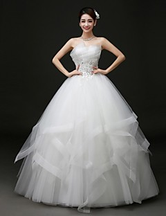 Ball Gown Floor-length Wedding Dress -Scalloped-Edge Tulle