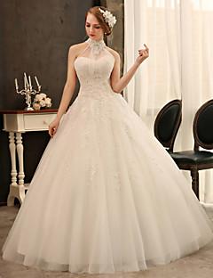 Ball Gown Wedding Dress - Ivory Floor-length High Neck Tulle/Charmeuse