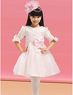Цветочница платье - Трапеция Длина до колен Длинные Органза/Атлас