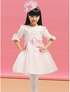 Flower Girl Dress - Linha-A Coquetel Manga Comprida Organza/Cetim