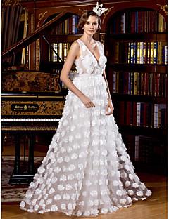 Vestido de Boda - Blanco Corte en A Hasta el Suelo - Escote en V Tul