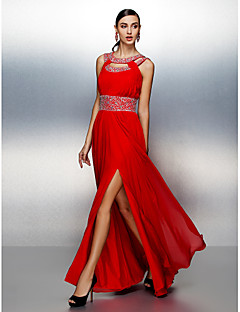 TS Couture® Prom / Formal Evening Dress Plus Size / Petite A-line Jewel Floor-length Chiffon with Beading / Draping / Sash / Ribbon
