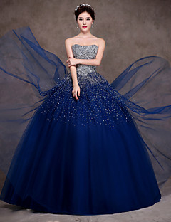Formal Evening Dress - Dark Navy Petite Ball Gown Strapless Floor-length Satin / Tulle / Stretch Satin