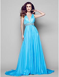 Vestido - Azul Festa Formal Linha-A Decote em V Longo Chiffon
