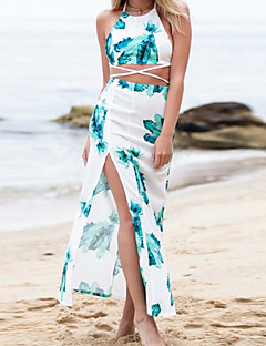 Women's Sexy Beach Casual Maxi Inelastic Sleeveless Maxi Dress (Cotton Microfiber)