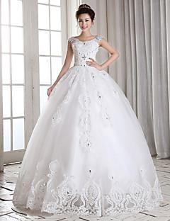 Vestido de Noiva - Branco Baile Quadrado Comprido Tule
