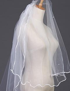 """הינומות חתונה שתי שכבות צעיפי מרפק קצה עפרון 35.43 אינץ' (90 ס""""מ) טול לבן"""