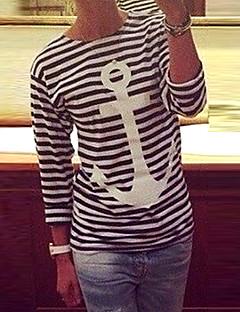 Flerfarget Medium Langermet,Rund hals T-skjorte Stripet Enkel Fritid/hverdag Kvinner