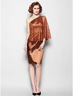 Sheath/Column Mother of the Bride Dress - Brown Knee-length Sleeveless Lace/Stretch Satin