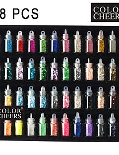 48 צבעים נייל מודלים לאמנות קישוט זכוכית בבקבוק אקראיים
