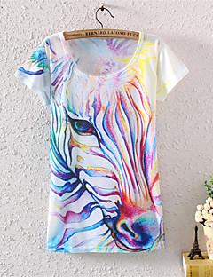 Tryck Kortärmad T-shirt Kvinnors Bomull / Polyester / Lycra