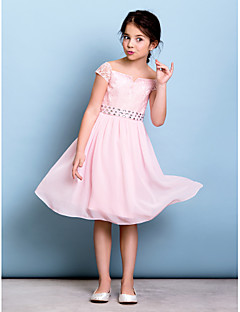 Knee-length Chiffon / Lace Junior Bridesmaid Dress A-line Off-the-shoulder with Bow(s) / Crystal Detailing / Sash / Ribbon
