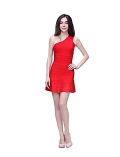 Fiesta cóctel Vestido - Rojo Corte Recto Corto - Solo Hombro Tafetán de nylon