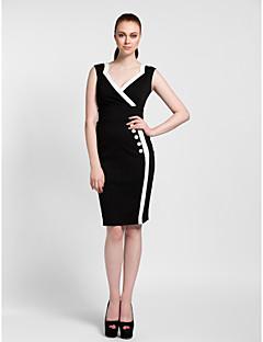 Homecoming Cocktail Party Dress - Black Sheath/Column V-neck Knee-length Polyester