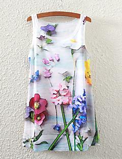 Débardeur Aux femmes,Fleur Décontracté / Quotidien simple Eté Sans Manches Col Arrondi Blanc Polyester Fin