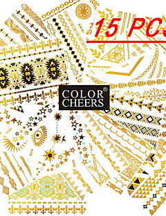 15Pcs All Different Patterns Long Bracelets/Necklace Tattoo Sticker(Random Patterns)15x11.5CM