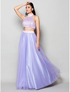 동창회 공식적인 이브닝 드레스 - 라인 / 공주 높은 목 바닥 길이 얇은 명주 그물 라일락